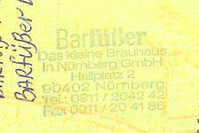 Пивной паспорт. Печать пивоварни Барфюссер. Нюрнберг, Германия.
